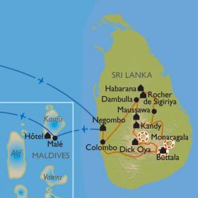 Carte Sri Lanka/Maldives, Duo de l'Océan Indien