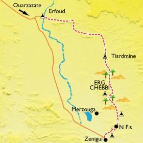 Carte Dunes dorées de Merzouga