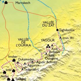 Carte Des villages du Haut Atlas au sommet du Toubkal