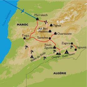 Carte Maroc, Haut Atlas et désert à VTT