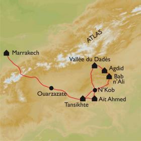 Carte Maroc, Vallée des Roses et Djebel Saghro à VTT