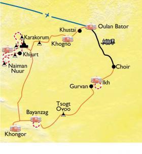 Carte De l'Arkhangai au désert de Gobi