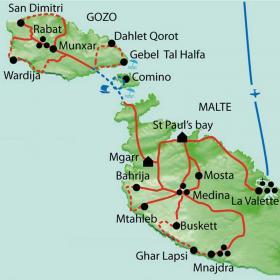 Carte Malte et Gozo, Perles historiques de la Méditerranée