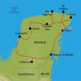 Carte A la découverte du Yucatán