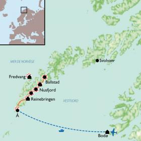 Carte Sommets et crêtes des îles Lofoten
