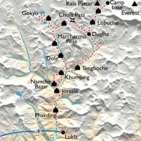 Carte Lacs de Gokyo, Kala Pattar et camp de base de l'Everest