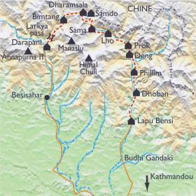 Carte Tour du Manaslu