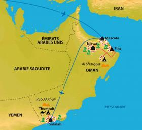 Carte Couleurs d'Orient de Muscat à Salalah