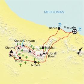Carte Trek dans le Jebel Hajjar occidental