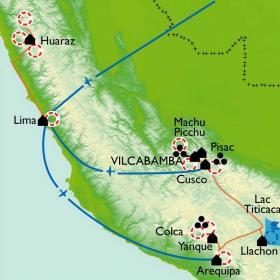 Carte De la cordillère de Vilcabamba à la cordillère Blanche