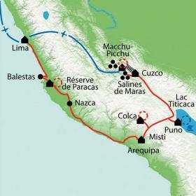 Carte Terres sacrées des incas