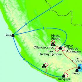 Carte Tour de l'Ausangate et montagne aux 7 couleurs