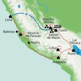 Carte Les incontournables du Pérou