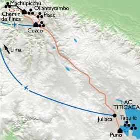 Carte Du Machu Picchu au lac Titicaca, entre trek et voyage