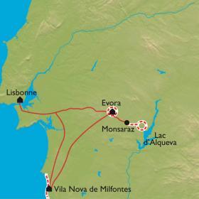 Carte Alentejo : d'Evora à l'océan