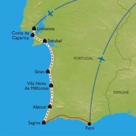Carte De Lisbonne à Sagres à vélo