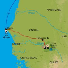 Carte Pays Bassari et Parc du Niokolo Koba