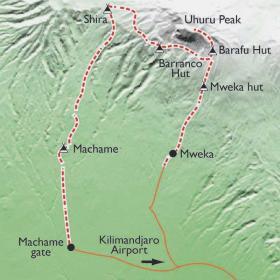 Carte Ascension du Kilimandjaro, voie Machamé