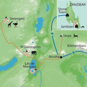 Carte Safari dans les Parcs et baignades à Zanzibar
