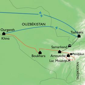 Carte Route de la soie et sentiers oubliés des Monts Fanksy