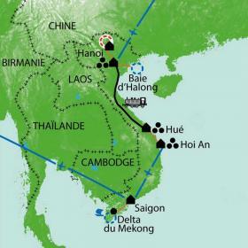 Carte Voyage en Indochine...