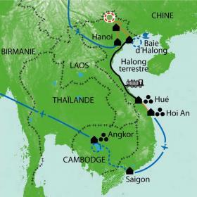 Carte Vietnam - Cambodge,  Minorités, Mékong... Angkor !