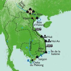 Carte L'Indochine du Nord au Sud