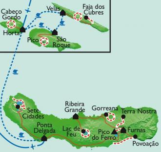 Carte L'archipel des Açores, chemins d'hortensias