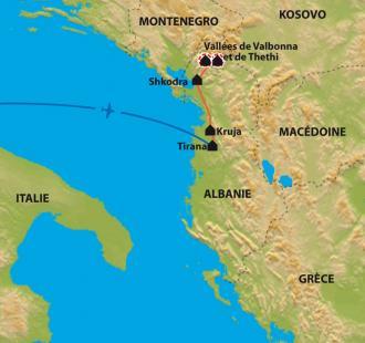 Carte Vallées et montagnes des Balkans