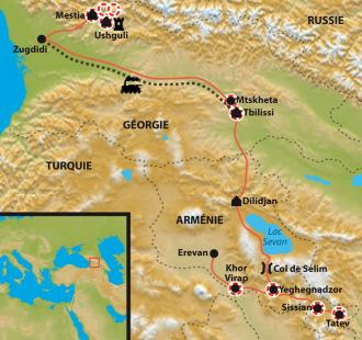 Carte De l'Ararat au Caucase
