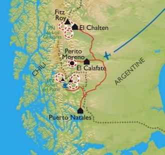 Carte Découverte de la Patagonie : du Fitz Roy aux Cuernos del Paine