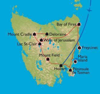 Carte Tasmanie -                  Lumières australes des antipodes