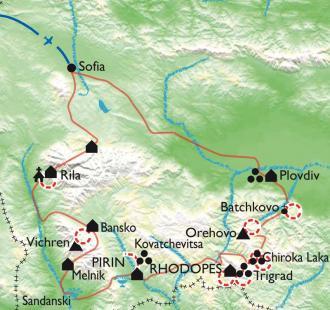 Carte Les hautes terres des Balkans