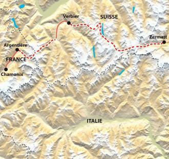 Carte Chamonix - Zermatt, ski de randonnée
