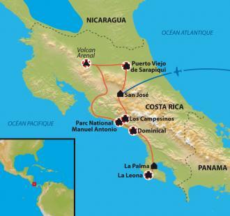 Carte Randonnée au Costa Rica, paradis vert de l'Amérique centrale