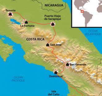 Carte Quetzal et rives du Pacifique