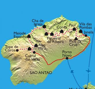 Carte La traversée de Santo Antao