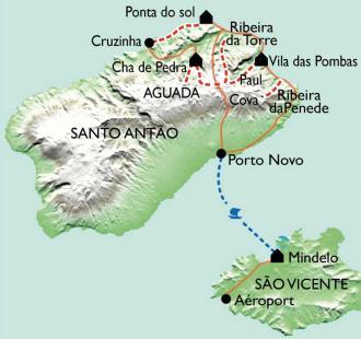 Carte Montagnes et vallées de Santo Antao
