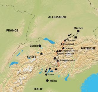 Carte Traversée de Munich au lac de Côme