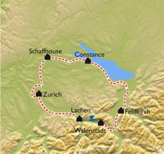 Carte Trois lacs et quatre pays à vélo.
