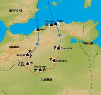 Carte D'Oran à Timimoun, la boucle des Oasis