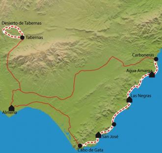 Carte Andalousie - Cabo de Gata, désert de westerns et criques vierges