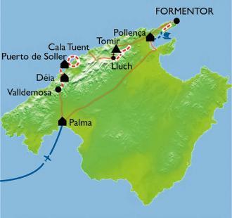 Carte Majorque, de Pollença à Valldemosa