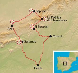 Carte La Castille, nature et culture au cœur de l'Espagne : Madrid, Ségovie, Avila, Tolède