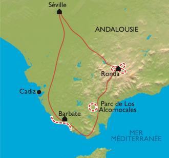 Carte De Ronda à Séville, par la Côte de Lumière