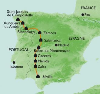 Carte De Séville à St Jacques à pied - bus par la Via de la Plata