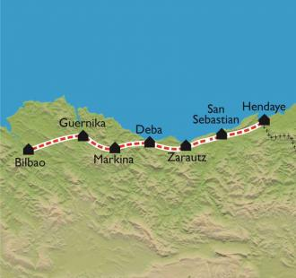 Carte De Hendaye à Bilbao, par le Camino Norte