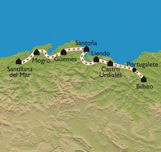 Carte De Bilbao à Santillana de Mar, par le Camino Norte