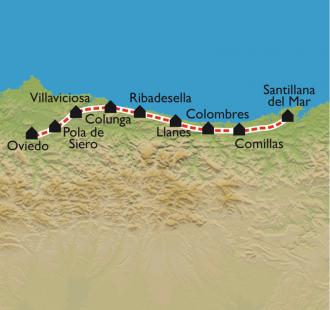 Carte De Santillana del Mar à Oviedo, par le Camino Norte