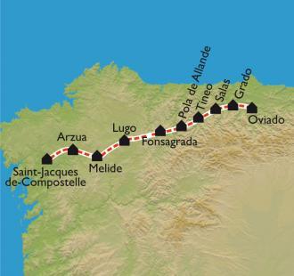 Carte D'Oviedo à Santiago, par le Camino Primitivo
